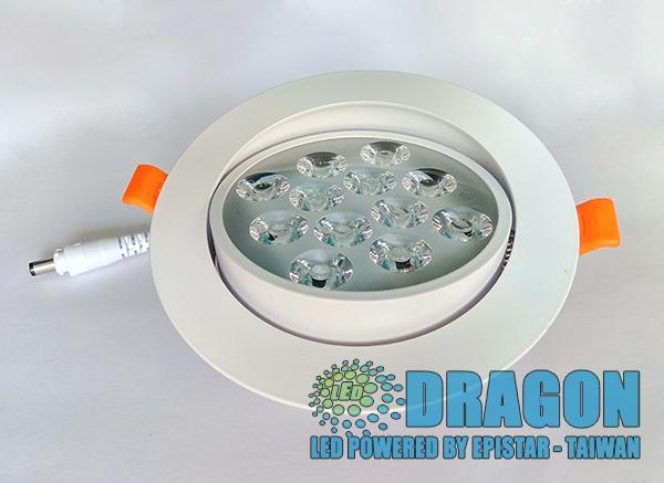 Đèn LED âm trần mắt ếch 12W nhôm dày