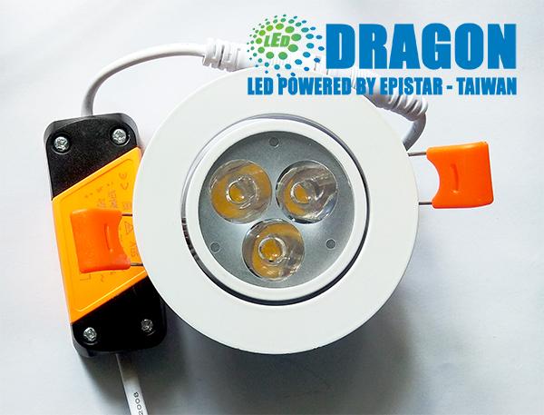 Đèn LED âm trần mắt ếch 3W nhôm dày