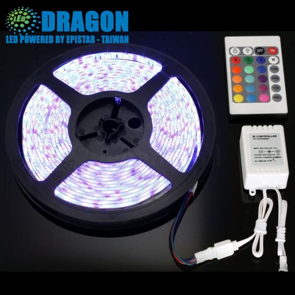 Đèn LED dây 5050 cuộn 100m đổi 7 màu 60led/m