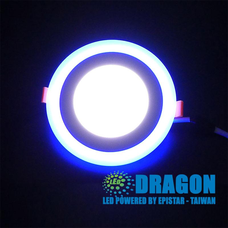 Đèn  LED âm trần 12W 3 chế độ viền xanh