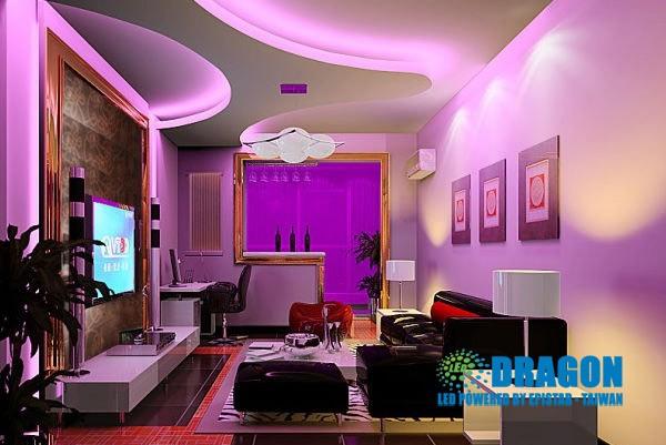 đèn led dây màu tím sử dụng trong phòng khách