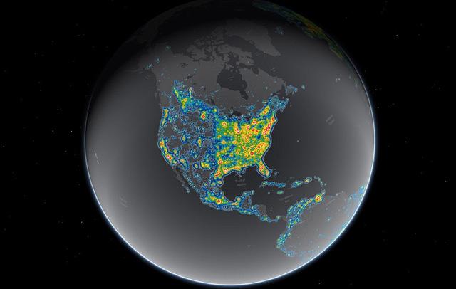 Bản đồ đèn LED trên Trái Đất nhìn từ vệ tinh